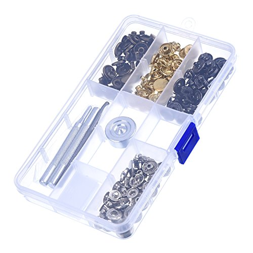 Leather Craft 12 mm Copper Snap Fasteners Press Studs No Sewing Clothing Snaps Button 39 Set with Fixing Tool for Fabric