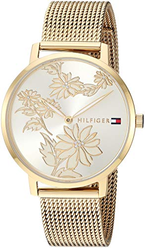 - Tommy Hilfiger Women's Quartz Watch with Gold-Plated-Stainless-Steel Strap, Yellow, 15.6 (Model: 1781921)