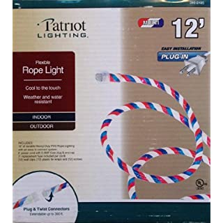 Red and white rope lights outdoor do it yourselfore patriotic red white and blue indoor outdoor rope light 12 feet mozeypictures Images