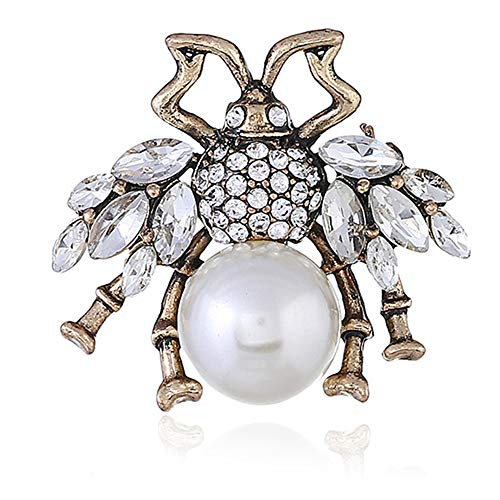 (Women's Fashion Love Simulated Pearl Bee Brooch - Embedded Crystal Vintage Alloy Brooch (Gold White))