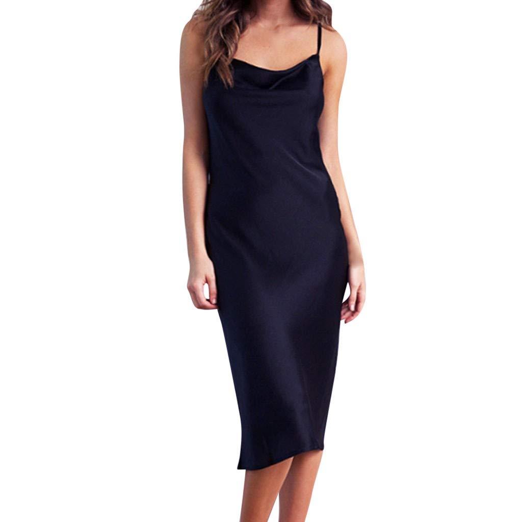 Wobuoke Women's Sexy Sleeveless Camisole Nightdress Silk Satin V Neck Cold Shoulder Backless Party Slim Dress Black