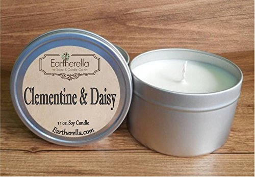 CLEMENTINE & DAISY Natural Soy Wax 11 oz. Tin Candle & Hand Lotion, long 60+ hour burn time, citrus, clean, refreshing, daisies, floral, flowers