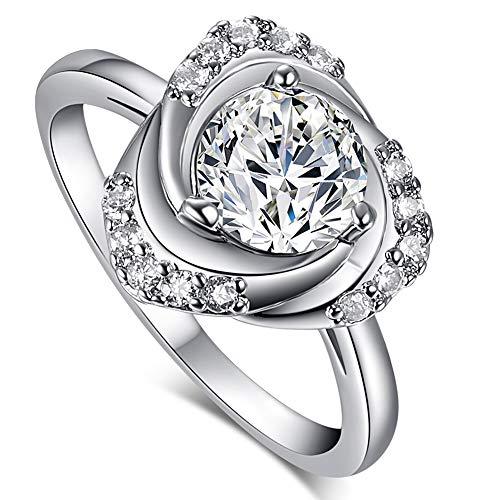 Muiane 925 Sterling Silver Created Pink Topaz Filled Swirl Rose Flower Engagement Ring K0088R8-10 ()