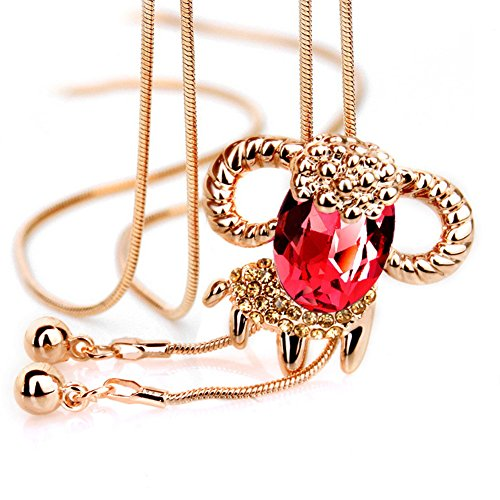 Jemry and Jewelry Gold Vacuum Plating red Austrian Crystals Goat Shape Pendant Necklace for Women (Christophers Red Clover)