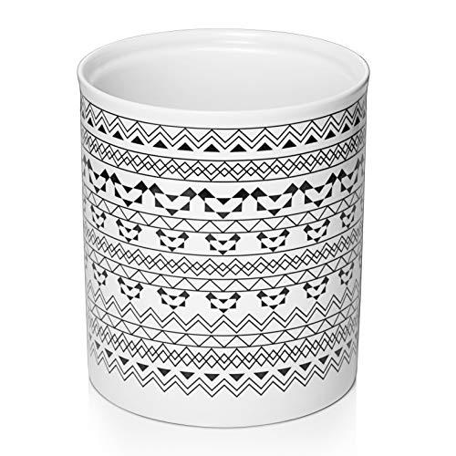 DOWAN Kitchen Utensil Holder – 7.2″ Large Utensil Holder for Countertop, Bohemian Style Ceramic Utensil Crock, Anti Slip & Scratch Cork Bottom, White & Black Pattern