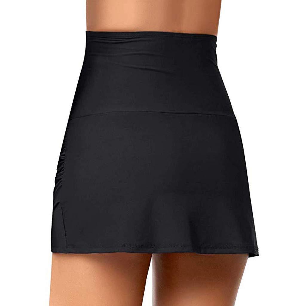 Womens High Waist Swim Skirt Swimdress Solid Swimsuit Hem Shirring Bikini Bottom Swim Brief