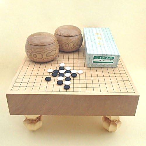 囲碁セット 新かや3寸足付碁盤竹と蛤碁石徳用28号・木製栗碁笥大セット