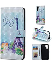 Glitter Wallet Case for Huawei P30 Pro and Screen Protector,QFFUN Bling 3D Pattern Design [Tower] Magnetic Stand Leather Phone Case with Card Holder Drop Protection Etui Bumper Flip Cover