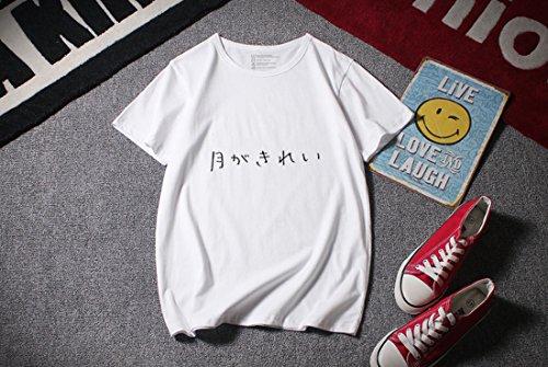 Zulha 月がきれい Tシャツ 半袖 衣服 アニメ にじげん カップル (ホワイト  M)の商品画像