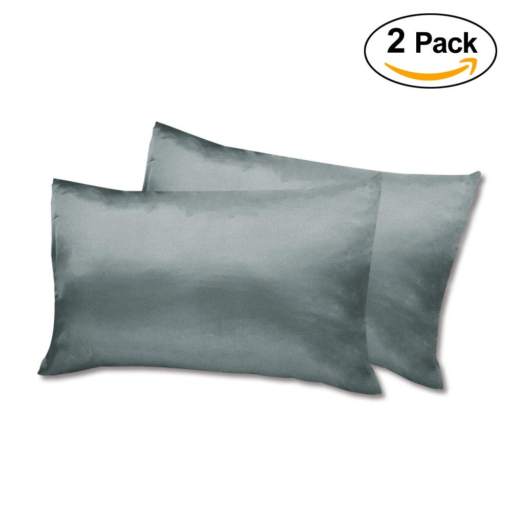 -Blue Silky Satin Pillowcase Pillow Cover Case for Hair and Skin with Envelope Closure Set of 2 King