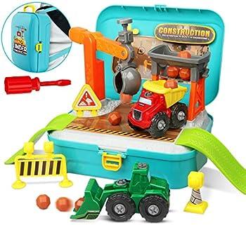 56-Pieces Lydaz Construction Building Trucks Toys Set