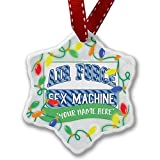 Personalized Name Christmas Ornament, Air Force Sex Machine, Blue stripes NEONBLOND