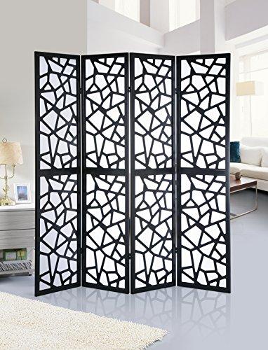 Roundhill Furniture Giyano 4 Panel Screen Room Divider, Black