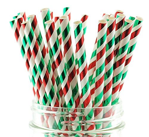 Christmas Shiny Tinsel Foil Straws (25 Pack) - Red & Green Candy Cane Striped Paper Straws, Xmas Holiday Party Supplies, Elegant Adult Drinking Straws