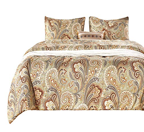 - SexyTown -Bohemian Comforter Set King,100% Cotton Fabric with Soft Microfiber Inner Fill Bedding, Reversible Gold Classy Paisley Regal Themed Bedding Set Luxury Damask Medallion Super Soft (3pcs King