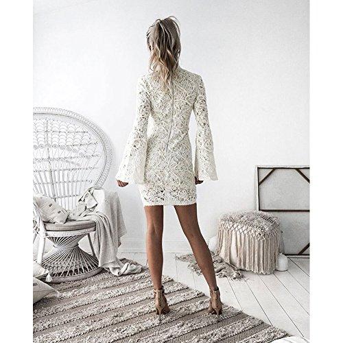 Cutecc Élégante Moulante En Dentelle O Robe Mini Robe Cou Soirée Des Femmes Blanches