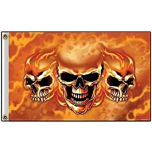 Red Hot Fire Skulls Flag - Inside or outside 3ft x 5ft One-Sided Design