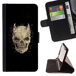 """Bright-Giant (Cuernos Huesos Cráneo diablo Horror Muerte"""") Modelo Colorido Cuero Carpeta Tirón Caso Cubierta Piel Holster Funda Protección Para Samsung Galaxy S6 EDGE (NOT S6)"""