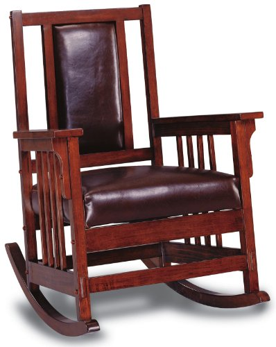 Rustic High Back Rocking Chair - Rocking Chair with Leather Match Seat and Back Tobacco and Dark Brown