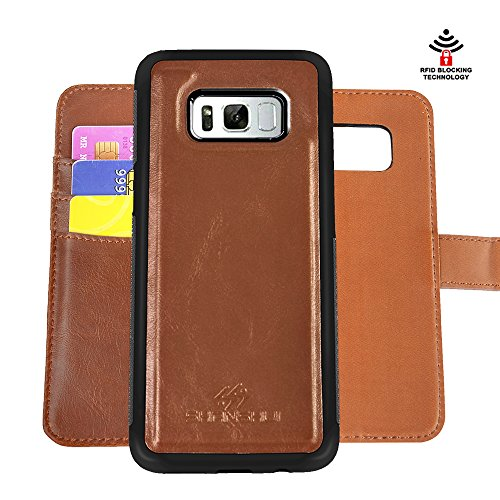 SHANSHUI Wallet Case Compatible with Samsung Galaxy S8 Plus, Detachable 2in1 Magnetic Folio Leather with RFID Blocking Credit Card Holder Pocket Money Wallet (Brown)