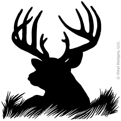 Deer Head Silhouette Buck Hunting Vinyl Wall Decal Sticker Art, Home Decor, Mural