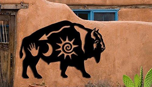 Buffalo Bison Symbol - Southwest Design - Home & Garden - Large (21 w x 14.50h) Metal Art - Indoor - Outdoor Hand Made USA