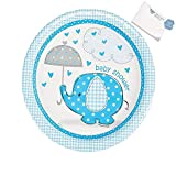 Paper Umbrellaphants Blue Dinner Plates (With Sticky Notes)