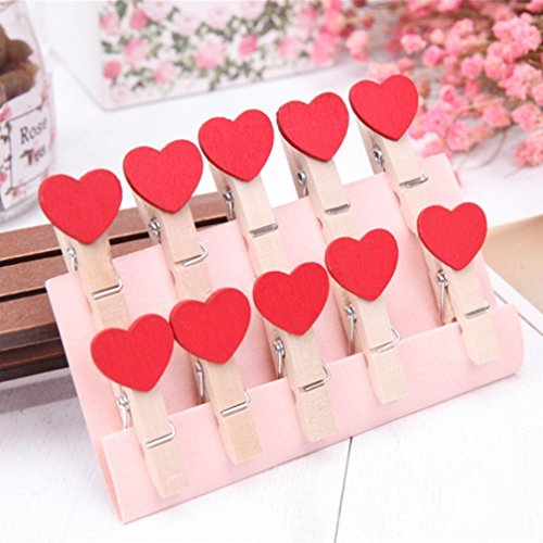Transer 10 Pcs Wooden Clips DIY Creative Heart Shaped Frame With Mini Colored Wood Clothespins (Red) (Wood Assorted Craft)