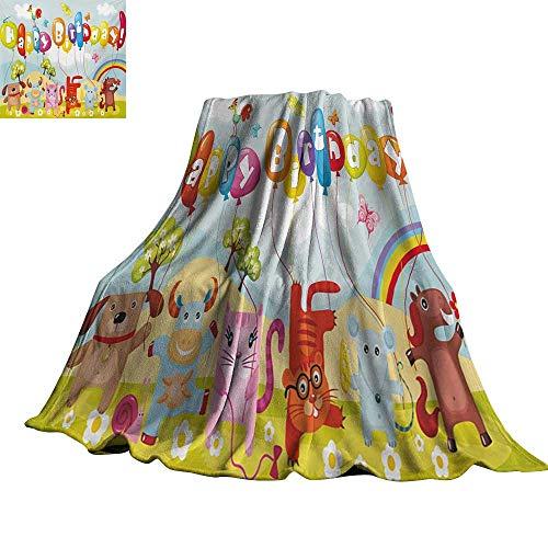 - RenteriaDecor Kids Birthday,Soft Blankets Farm Life Animals Balloons Rainbow Clouds Village Theme Party Fun Art Print Super Soft Cozy Throws 70