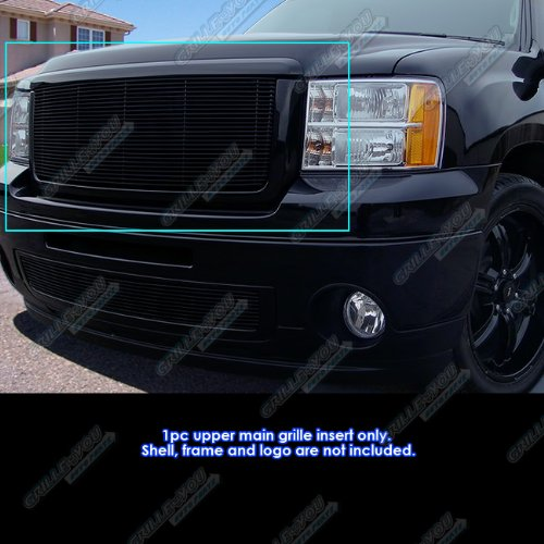 APS Compatible with 2007-2013 GMC Sierra 1500 New Body 2007-2010 Denali Black Billet Grille Grill S18-H57466G