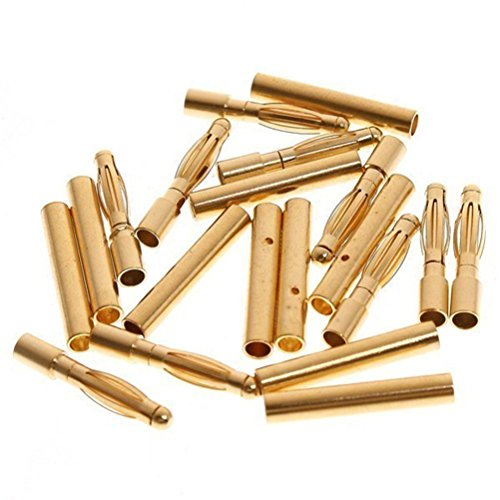 - Pixnor 50 Pairs of 2.0mm Gold Plated Male and Female Bullet Banana Connectors Plugs for DIY RC Battery ESC Motor