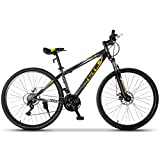 Murtisol Mountain Bike 27.5 inches Hybrid Bicycle with 21 Speed,Suspension Fork,Dual Disc Brake,Yellow Black