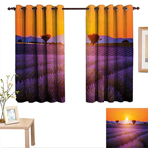 aotuma Customized Curtains Lavender,Idyllic Summer Sunset Landscape with Fresh Field and Trees Valensole France,Lavander Orange,Blackout Draperies for Bedroom Living Room 42