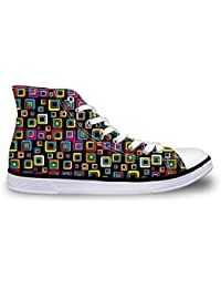Printed Canvas Sneakers Unisex Casual Easy Walking Shoes Geometric Pattern Black