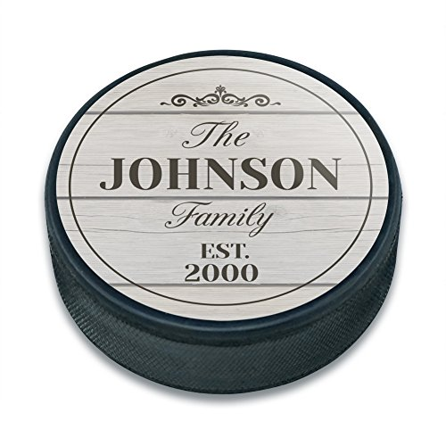 Pucks Personalized Hockey (Graphics and More Personalized Custom The Name Family Established Year Dark Ice Hockey Puck)
