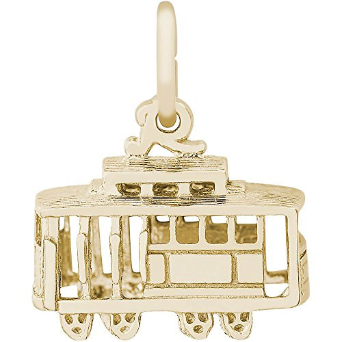 Rembrandt Charms Two Tone Sterling Silver 3-D Cable Car Charm (14 x 8 mm) ()
