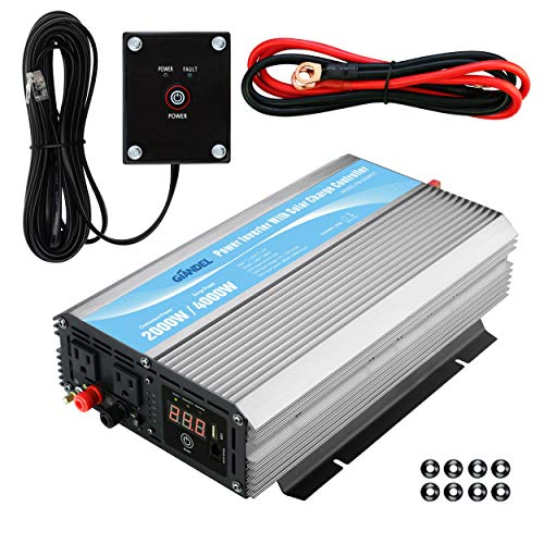 Inverter 24V DC to 120V AC with 20A Solar Charge Control and 2xAC 110-120V US Outlets and 1x2.4A USB and Remote Control ()