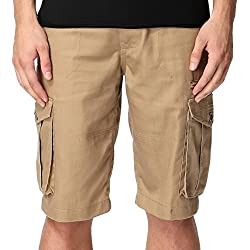 Greatrees Men's Cotton Regular Fit Multipocket Belted Pleat Front Cargo Shorts FKhaki 30
