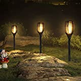 Furnizone Solar Garden Light Outdoor Patio Torch Light Tiki Torch LED Lighting Flickering Pathway Lights Dancing Flame Auto On/Off Security Light Waterproof Landscape Decoration Lights 2 Pcs (8Pcs)