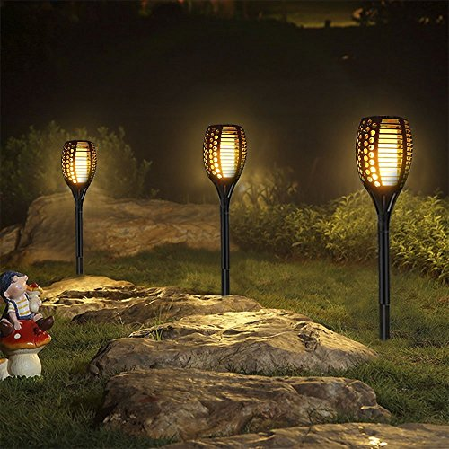 Furnizone Solar Garden Light Outdoor Patio Torch Light Tiki Torch LED Lighting Flickering Pathway Lights Dancing Flame Auto On/Off Security Light Waterproof Landscape Decoration Lights 2 Pcs (8Pcs) by Furnizone