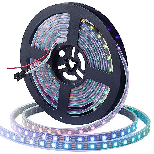 CHINLY 16.4ft WS2812B Individually Addressable LED Strip Light 5050 RGB SMD 300 Pixels Dream Color Waterproof IP67 Black PCB 5V DC (Black PCB 16.4ft 300leds ()