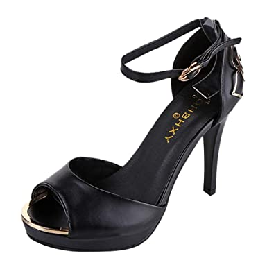 5aa37ccb5a98e GoodLock Women Fashion High Heel Sandals Ladies Sexy Round Toe Shoes One  Word Buckle Non-