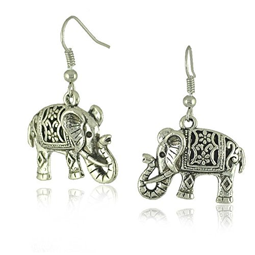 Tibetan Silver Cute Fat Carve Flower Elephant Ear Wire Hook Dangle Earrings