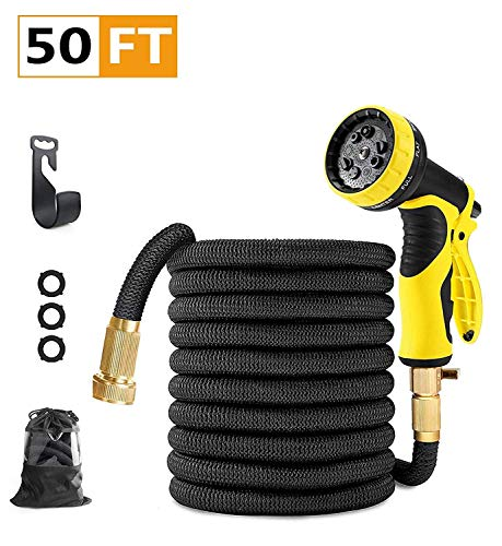SHAODENG 50 feet Garden Hose Upgraded Expandable Hose, Durable Flexible Water Hose, 9 Function Spray Hose Nozzle, 3/4″ Solid Brass Connectors, Extra Strength Fabric, Lightweight Expanding Hose