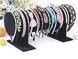 Sunny-business Jewelry Velvet Headband Hair Clasp Holder Display Stand Rack (black)