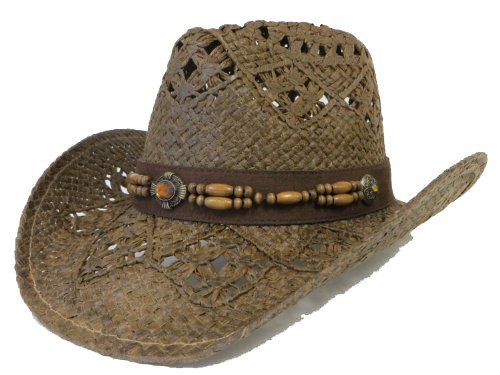 Western Hat / Amber Stone Look with Wood Beads / Brown
