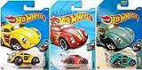 (US) Volkswagen Beetle Hot Wheels Die-Cast Cars Tooned Bug Variants 2018 #107 Red Flames / Woodie Yellow & Aqua #74 + 172 in PROTECTIVE CASES