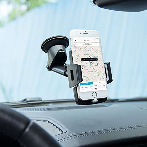 Amoner Car Phone Holder, Upgraded Cell Phone Holder Mount for Car Windshield Dashboard with Strong Suction Cup for iPhone XR X 8 7 Se 6S 6 5S Galaxy S10 S9 S8 S7 S6 and More