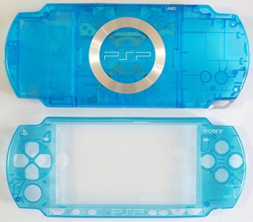 (PSP2000 front + back faceplate & buttons (psp2000 housing shell)--crystal Blue)