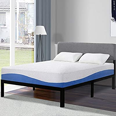 Olee Sleep Cool I Gel Infused Memory Foam Mattress, 10'' W, Cal King, Blue with AmazonBasics Hypoallergenic Vinyl-Free Waterproof Mattress Protector, Cal-King